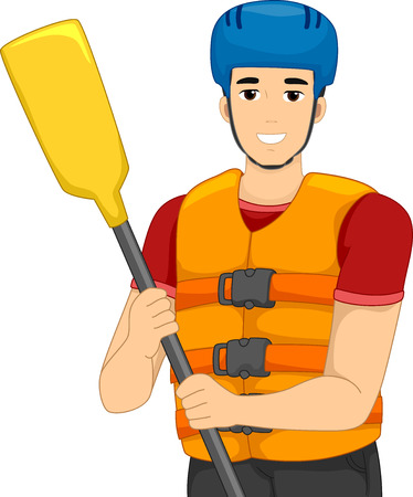 life jacket: Illustration of a Man Wearing Whitewater Rafting Gear
