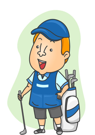 caddy: Illustration of a Caddy Standing Beside a Golf Bag