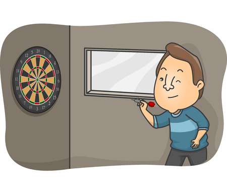 patron: Illustration of a Bar Patron Trying to Hit the Dartboard