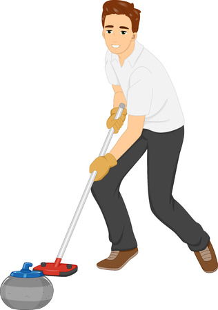 curling: Illustration of a Man Pushing a Curling Stone Forward