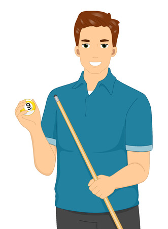 cue sports: Illustration of a Man Holding a Cue Stick and a Billiard Ball