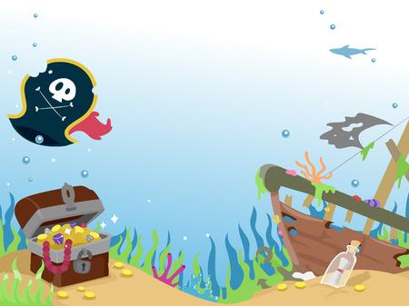 sunken: Background Illustration of a Sunken Pirate Ship