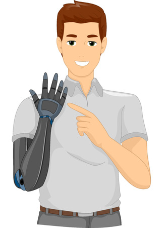 man pointing: Illustration of a Proud Man Pointing to His Prosthetic Arm