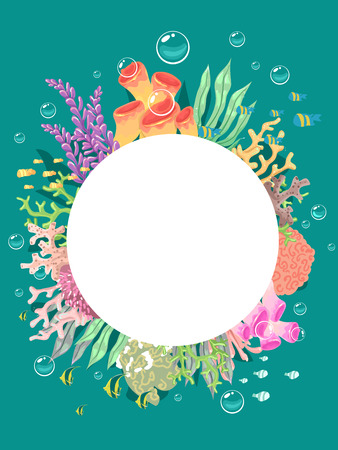 seaweeds: Frame Illustration Featuring Corals Arranged in a Circle Stock Photo