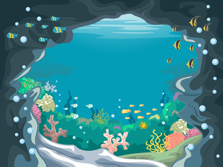underwater: Scenic Illustration of an Underwater Cave with Colorful Fishes Swimming About
