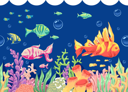 seaweeds: Colorful Illustration of Fishes Swimming Around Corals and Seaweeds