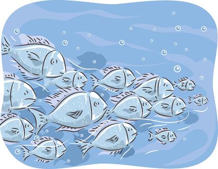 Illustration einer Schule der Fische schwimmen zusammen Standard-Bild - 41113918