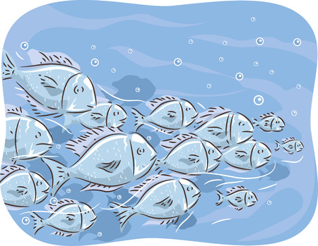 swarm: Illustration of a School of Fish Swimming Together Stock Photo