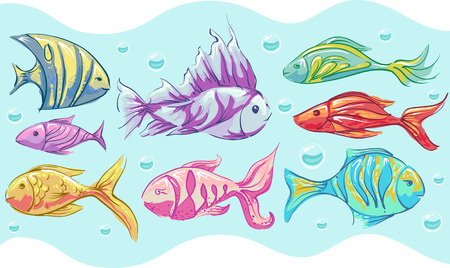 underwater fishes: Colorful Illustration of a Wide Variety of Fishes
