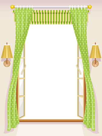 breezy: Illustration of an Open Window with Roman Shades Stock Photo