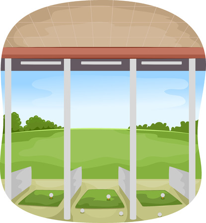 driving range: Illustration of a Covered Driving Range with Golf Balls Strewn Around