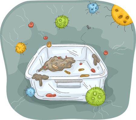 contaminated: Illustration of a Filthy Container Surrounded by Bacteria