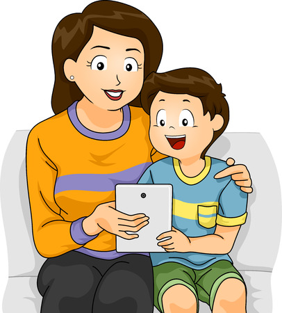 Student Life: Illustration of a Mother Teaching Her Son How to Use a Tablet Stock Photo