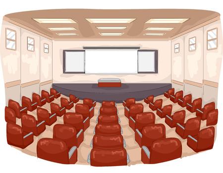 Illustratie van een collegezaal met een groot aantal zitplaatsen