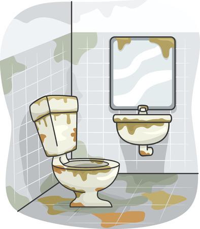 汚れで覆われて汚れたトイレのイラスト