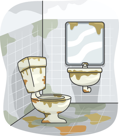 grime: Illustration of a Dirty Toilet Covered in Grime