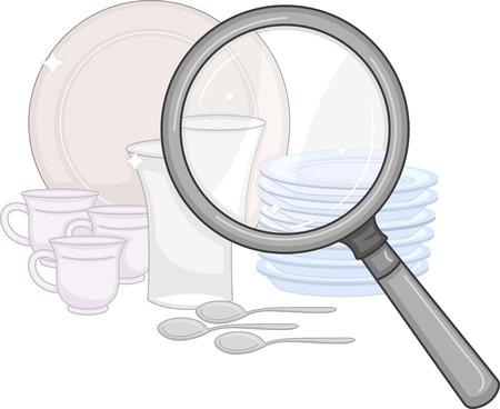 limpieza: Ilustración de una lupa está utilizando para verificar la limpieza de placas