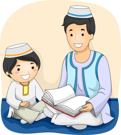 quran: Illustration of a Muslim Man Reading the Quran to a Muslim Boy Stock Photo