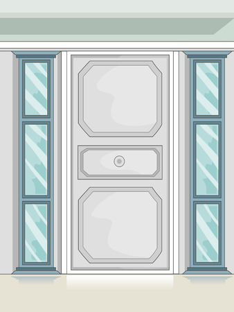 Illustration of a Stylish Door with Glass Sidelights