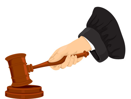 judiciary: Cropped Illustration of a Judge Pounding His Gavel