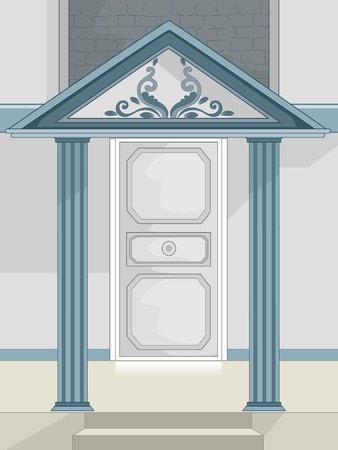 Illustration of a Stylish Portico Covered by a Roof Stock Photo