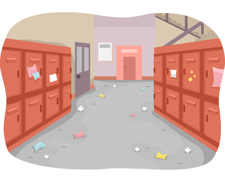 messy room: Illustration of a School Hallway with Trash Strewn All Around