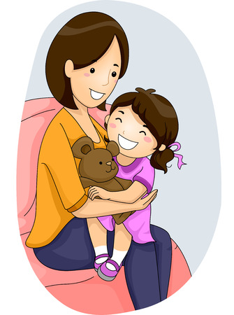Illustration of a Mother Hugging Her Daughter Stock Photo