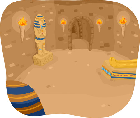 mummy: Illustration Featuring the Interior of a Pyramid