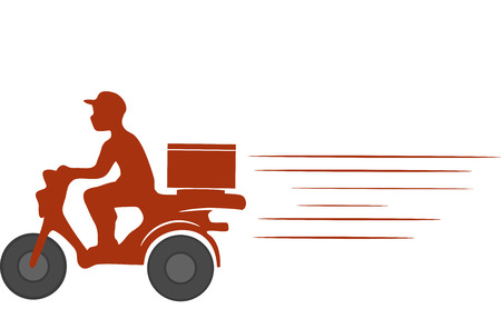 Icon Illustration of a Delivery Guy Driving a Motorcycle