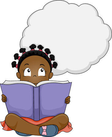 children art: Illustration of a Little Girl Thinking While Reading a Book Stock Photo