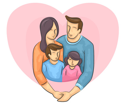 large family: Illustration of a Happy Family with a Large Heart Behind Them
