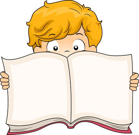 schooler: Illustration of a Little Boy Holding a Book Wide Open
