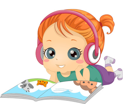 children story: Illustration of a Little Girl Listening to an Audio Recording While Reading a Book Stock Photo