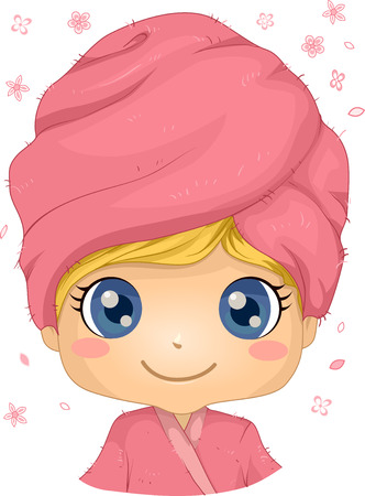 towel head: Illustration of a Little Girl in a Spa with a Towel Wrapped Around Her Head