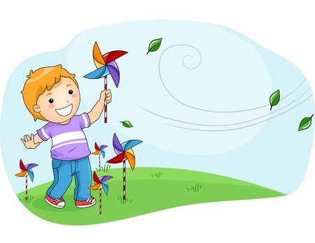breezy: Illustration of a Little Boy Playing with a Pinwheel