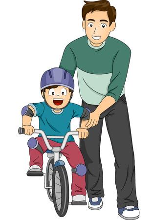 enseñanza: Ilustración de un padre enseñando a su hijo a andar en bicicleta