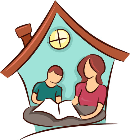 Illustration of a Mother Teaching Her Young Son at Home Stock Photo