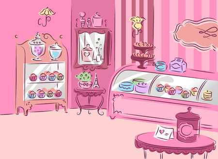 patisserie: Illustration of a Cute and Girly Patisserie Covered with Pink Furniture