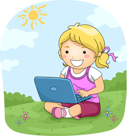 girl laptop: Illustration of a Little Girl Using Her Laptop