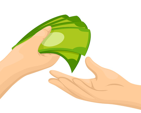 handing: Illustration of a Person Handing a Handful of Cash to Another