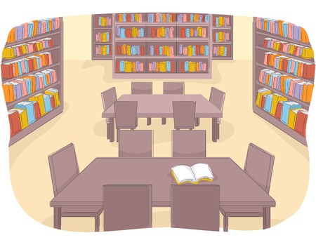 currently: Illustration of a Well Stocked Library That is Currently Not Being Used Stock Photo
