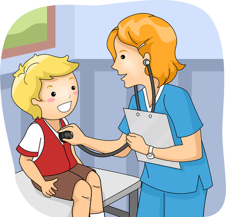 hospital cartoon: Illustration of a Little Boy Undergoing a Medical Checkup Stock Photo