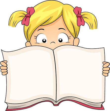 libro abierto: Ilustración de una niña Difundir un libro Wide Open