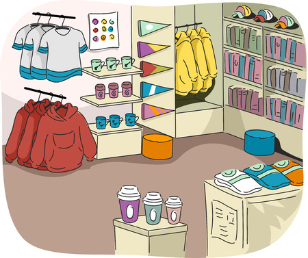 tertiary: Illustration of a University Store Filled with Sports Related Merchandise
