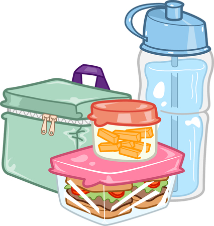 Illustration of a Carefully Prepared Lunchbox Together with a Water Bottle Stock Illustration - 123154814