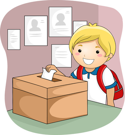 grade schooler: Illustration of a Little Boy Dropping His Ballot Inside the Box
