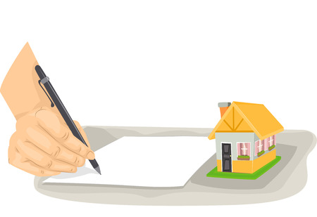 agent: Cropped Illustration of a Person Writing on a Piece of Paper Stock Photo