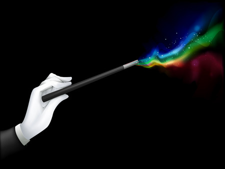 Illustration of a Magician Spouting Colors with His Magic Wand  Stock Photo