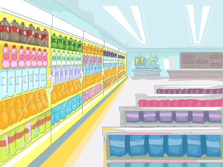 Illustration of a Convenience Store Showcasing a Wide Array of Products