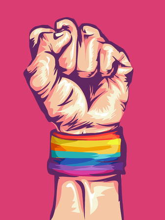 conviction: Illustration of a Fist Wearing a Rainbow Colored Wristband Clenched Tight